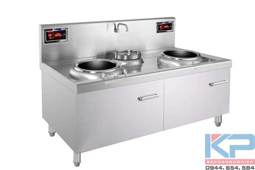 Bếp điện từ đôi công nghiệp có bầu nước